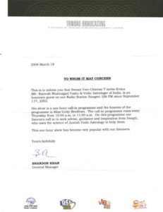 Letter of reference Radio Sangeet